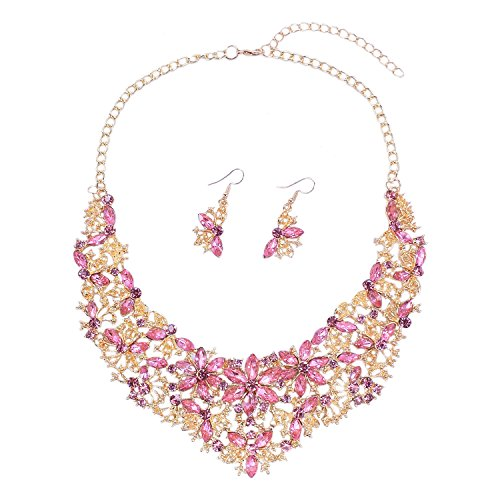 Women Alloy Crystal Necklace and Earring Set Wedding Jewelry Rhinestone Necklace (Pink) - Jewelry Pink Rhinestone