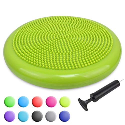 Trideer Inflated Stability Wobble Cushion with Pump, Extra Thick Core Balance Disc, Kids Wiggle Seat, Sensory Cushion for Elementary School Chair (Office & Home & Classroom) (34cm New Yellow Green) (Wobble Balance Cushion)