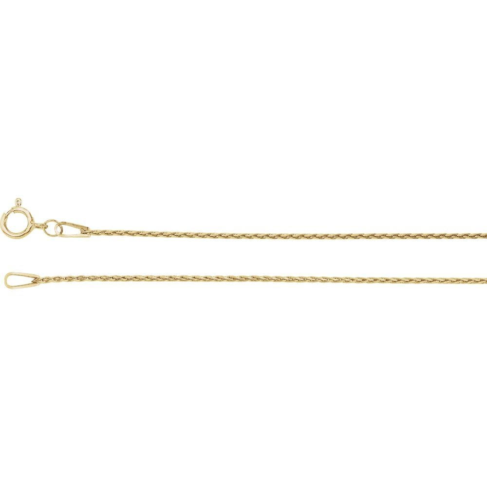 14K Yellow Gold .85mm Baby Wheat Chain