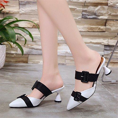 Taille Couleur Sauvage 38 Yiwuhu Caoutchouc Noir Baotou dérapant Chaussures pour avec en 2 3 Anti Rose EU des Femmes PwO4HvxP