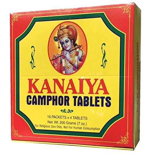 Camphor Tablets from India - 200 grams - 64 tablets (16 blocks of 4) - Kanaiya Brand by Kanaiya
