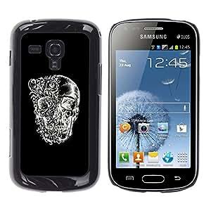Shell-Star Arte & diseño plástico duro Fundas Cover Cubre Hard Case Cover para Samsung Galaxy S Duos / S7562 ( Skull Black White Floral Deep Meaning )