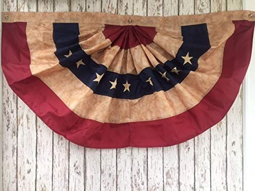 Rustic & Primitive Crafting Supplies (B) Manufactured to Look Antique Embroidered Tea Stained American Flag Bunting ~ 4 ft Wide Fan ~USA United States Inspiration for A Project ()
