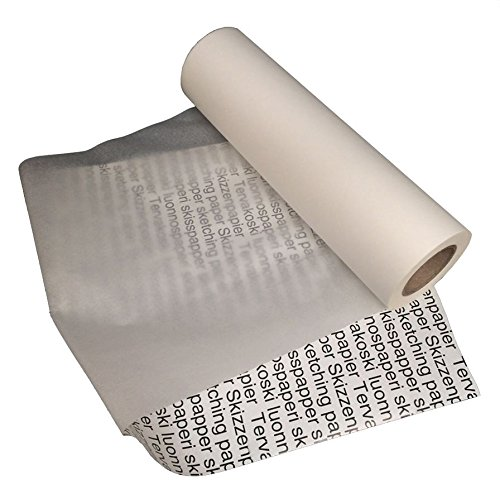 Tervakoski - Roll of Sketching Paper - Translucent Ideal for Tracing and Drawing - 25gsm - 100m - 30cm x 100m by Artway