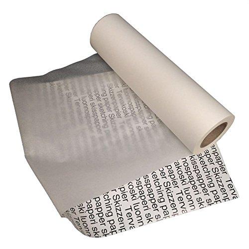 Tervakoski - Rullo di carta da bozze - Traslucida, ideale per tratti e schizzi - 25g/m² 100m - 45 cm x 100 m