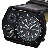 Oulm Quartz Brown Leather Analog Outdoor Military Army Sport Men Wrist Watch Luxury, Watch Central
