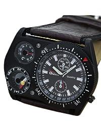 Oulm Quartz Brown Leather Analog Outdoor Military Army Sport Men Wrist Watch Luxury
