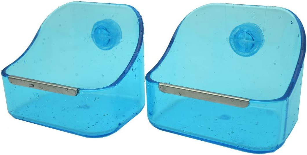 RUBYHOME Food and Water Bowl (2-Pack) for Rabbit/Guinea Pig/Ferrets/Chinchilla - Best Bowl to Prevent Knocking Over, Made from Non-Toxic, BPA Free Plastic/Minimizing Waste/Mess (Blue)