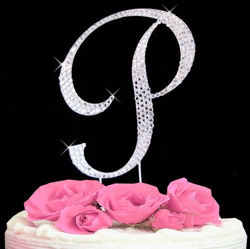 (Letter P - Swarovski Crystal Monogram Wedding Cake Topper Letter)