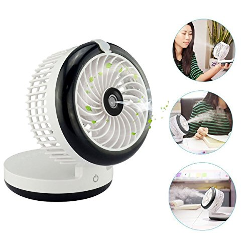 Table Fans,Portable Misting Fan,Mini Humidifier Fan Cooling Mist Fan Humidifier Personal Fan Desktop Fan Rechargeable with Built-in Battery (Black) by Ann Bully