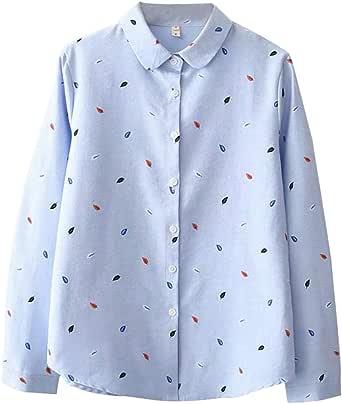 Fossen Blusas para Mujer Verano Otoño 2019 Elegantes - Suelta Versión Coreana Camisa de Gasa de Manga Larga con Estampado de Hojas - Clásico Retro Blusa Originales para Oficina, Fiesta, Vacaciones: Amazon.es: