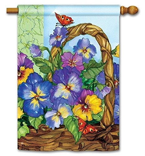 - BreezeArt Pansy Basket House Flag - 28