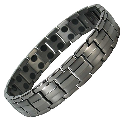 IonTopia Hermes Titanium Magnetic Therapy Bracelet Gunmetal with Free Links Removal Tool ()