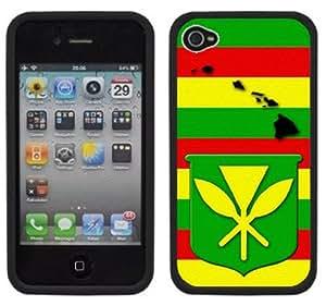 Kanaka Flag Hawaii Hawaiian Handmade iPhone 4 4S Black Hard Plastic Case
