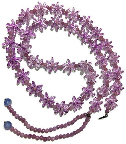 Masterpiece Cristal Belt In Flower Shape Handmade 100% That Can Adjust Into Necklace (0.5x 47.5 Inch, purple) (47.5 Inch, Purple)