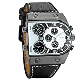 Avaner Mens Unique Analog Quartz Oversize Dial Wrist Watch 3 Time Zone Display Military Army PU Leather Strap Sport Watch