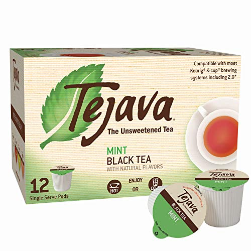 (Tejava Unsweetened Black Tea with Natural Mint Flavor Pods, Award-Winning Tea, 100% recyclable Single Serve Cups (12 Pack))