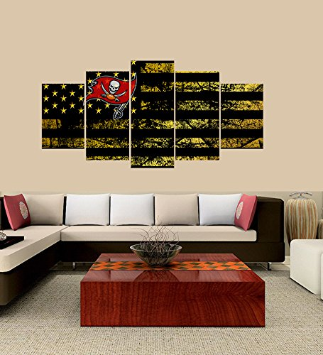 PEACOCK JEWELS [Small] Premium Quality Canvas Printed Wall Art Poster 5 Pieces / 5 Pannel Wall Decor Tampa Bay Buccaneers Logo Painting, Home Decor Football Sport Pictures- Stretched ()