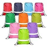 Drawstring Backpack Bags Reflective 10 Pack, Promotional Sport Gym Sack Cinch Bag (Royal Blue,Black,Red,Green) (10 MIX -1)