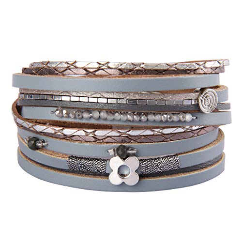 AZORA Womens Leather Wrap Bracelets Lucky Leaf Handwoven Crystal Seeds String Cuff Bracelet Gorgeous Magnetic Bangle Jewelry Gift for Women Teen Girls Sister Mum
