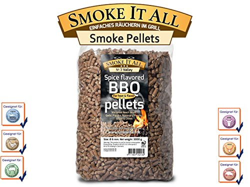 SMOKE IT ALL - BBQ Grill Pellets Räucherpelltes Buchenholz mit Gewürzen 3,0 kg; 63203
