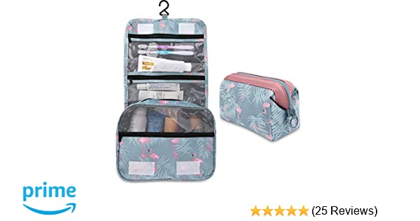 e32267c25d67 Amazon.com   2 Pieces Toiletry Bag Multifunction Hanging Cosmetic Bag  Portable Organizer Makeup Bags Pouch Large Capacity Waterproof Travel Bag  for Women ...