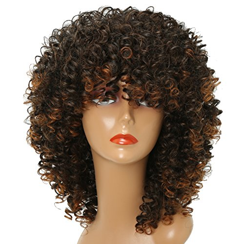 MISSWIG Curly Wig for Black Women Short Synthetic Hair 12 Inches Brown Heat Resisitant African Hair With Wig Cap ()