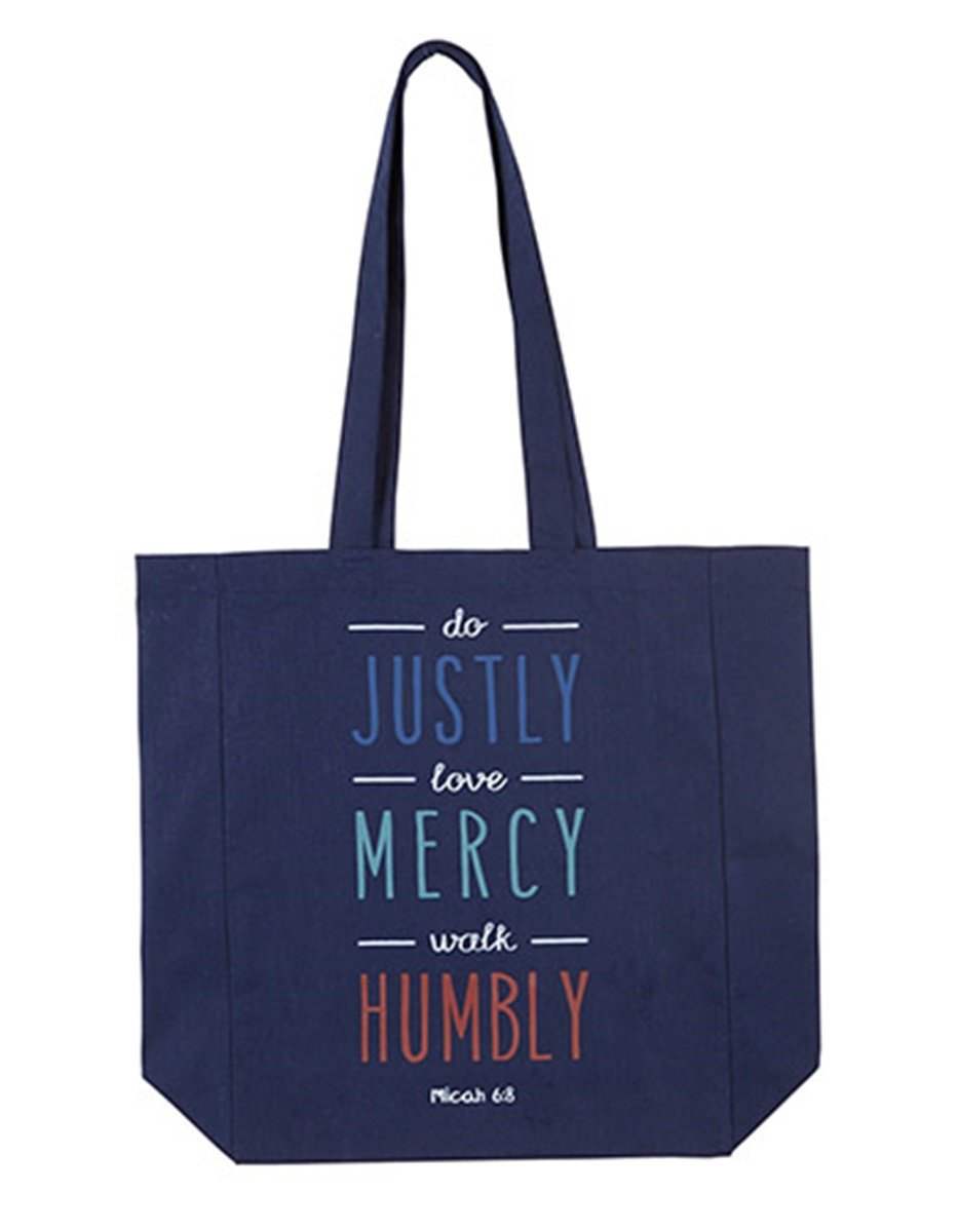 Womens Do Justly, Love Mercy, Walk Humbly Canvas Tote Bag, 13 Inch