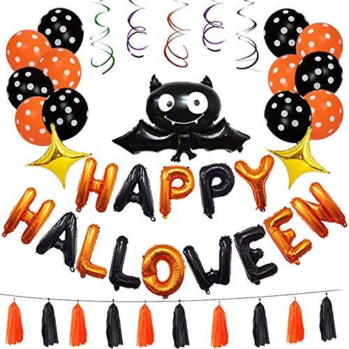 Leoie Happy Halloween Letters Latex Balloons Set Hanging Bat Balloon Set for Halloween Party Courtyard Corridor Decoration