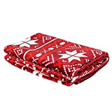 """COSMOZ Christmas geometry snowflake Pattern Pure Red Background Soft Lightweight Flannel 290GSM Thick Deep Blanket Throw 50"""" x 70"""""""