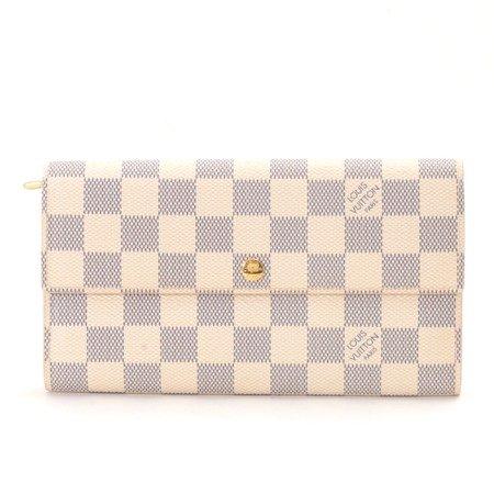 (ルイヴィトン)LOUIS VUITTON 二つ折り財布(小銭入れあり)ポルトフォイユサラ ダミエアズール アイボリー 中古 B074MY5XTV