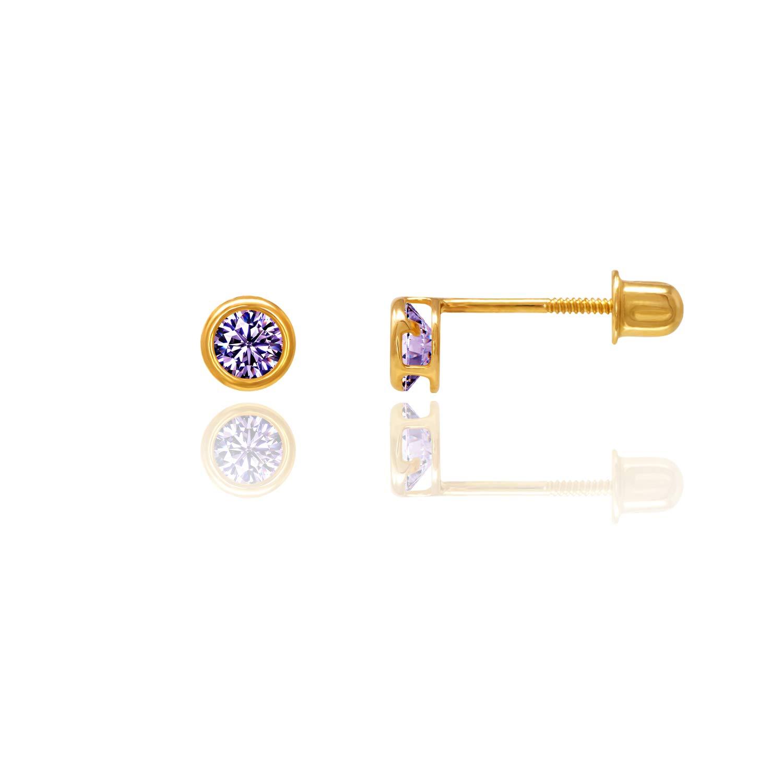 14kt Solid Gold Kids Stud Screwback Earrings Stephanie Rockway GSE100PU