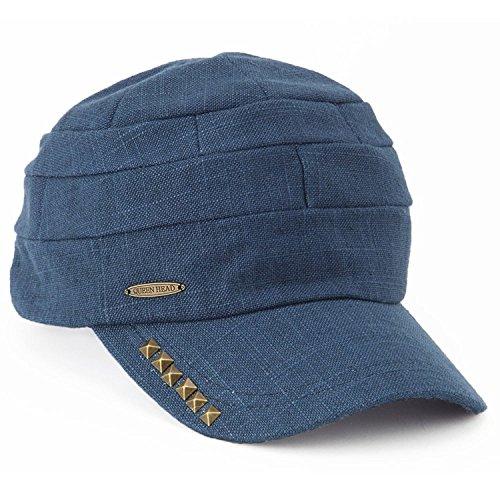 クイーンヘッド ピカスンCAP 帽子 大きいサイズ キャップ レディース スタッズ UV 紫外線対策 小顔効果 ゴルフキャップ【XLサイズ(59-61cm)-ネイビー】