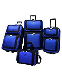 Traveler's Choice US Traveler New Yorker 4-Piece Luggage Set Expandable, Navy Blue, One Size