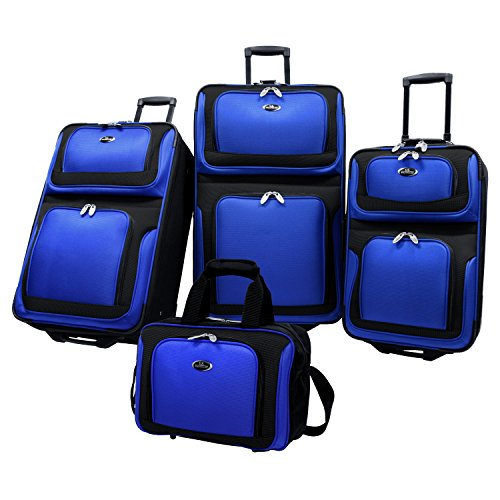 (U.S Traveler New Yorker Lightweight Expandable Rolling Luggage 4-Piece Suitcases Sets - Royal Blue )
