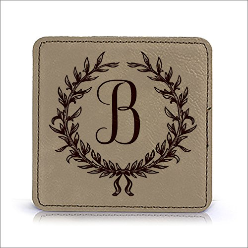 Set of 6 Monogrammed Initial Leatherette Coaster Set, Customized Coasters, Engraved Coasters, Personalized Engraved Gift, Wedding Gift, Couples Gift idea (Light Brown-Square) Engraved Personalized Coaster