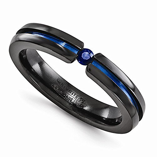 Edward Mirell Black Titanium Tension Set Blue Sapphire and Blue Anodized 4mm Wedding Band - Size 7 by Edward Mirell