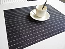 Eforcurtain Set of 4 Simple Style Striped Placemats Heat Insulation Stain-resistant Eat Mat Vinyl Placemats Spillproof, Black