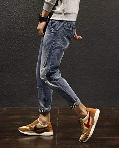 Fashion Buco Youth Uomo Pants Da Vita Matita Giovane Pantaloni Ssige Strappato Blau Jeans Harem Bassa Modern Elasticizzata Saoye Bd1WcqB