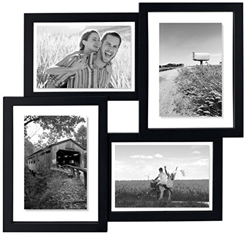 Floater Frame Collage (Malden International Designs Gallery Collection Floater Puzzle Collage Matted Picture Frame, 4 Option, 4-4x6/2-5x7 & 2-6x8, Black)