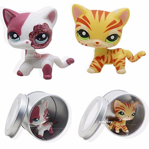 tongrou 2pcs #1451 #2291 Littlest Pet Shop Pink & Yellow Sparkle Glitter Short Hair Cat (Littlest Pet Shop 1451)