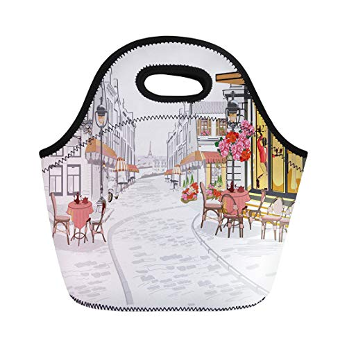 Semtomn Lunch Bags Black Cafe Series of Street Views in the Old Neoprene Lunch Bag Lunchbox Tote Bag Portable Picnic Bag Cooler Bag ()