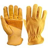 OZERO 3 Pair Flex Grip Leather Working Gloves Stretchable Tough Cowhide Work Glove (Gold, X-Large)
