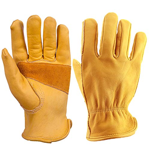 OZERO 3 Pair Flex Grip Leather Working Gloves Stretchable Tough Cowhide Work Glove (Gold, -