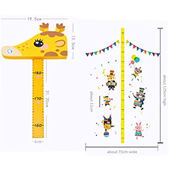 Canvas Removable Hanging Height Growth Chart for Baby Girls Bedroom Yibaision Baby Growth Chart Wooden Wall Ruler,7.9 x 79 Growth Chart Handing Ruler Wall Decor