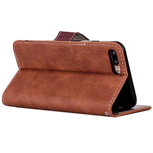 MXNET Iphone 7 Plus Fall, Retro verrückte Pferd Textur Kontrast Farbe Horizontale Flip Leder Tasche mit Halter & Card Slots & Wallet & Foto Frame & Lanyard CASE FÜR IPHONE 7 PLUS ( Color : Brown )