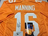 Peyton Manning Autographed Signed Orange Custom Tennessee Volunteers Jersey Manning #'ed Player Hologram W/Photo From Signing