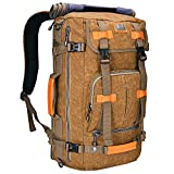 WITZMAN Canvas Backpack Vintage Travel Backpack Hiking Luggage Rucksack Laptop Bags A519 (21 inch tan)