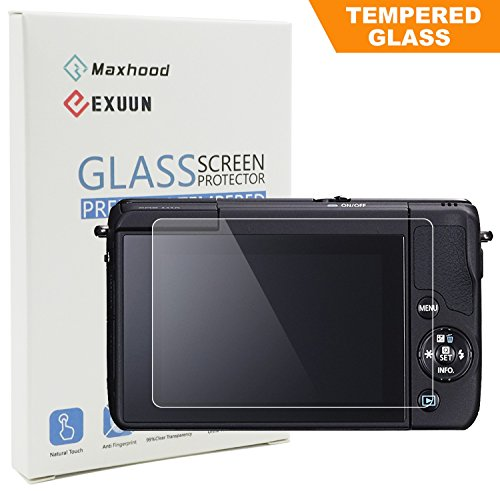 Canon EOS M3 / M5 / M10 / 100D / G1 X Mark II Tempered Glass Screen Protector, Exuun Optical 9H Hardness 0.3mm Ultra-Thin DSLR Camera LCD Tempered Glass
