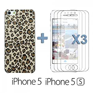 OnlineBestDigital - Carving Design Patterns Plastic Case for Apple iPhone 5S / Apple iPhone 5 - Style L with 3 Screen Protectors